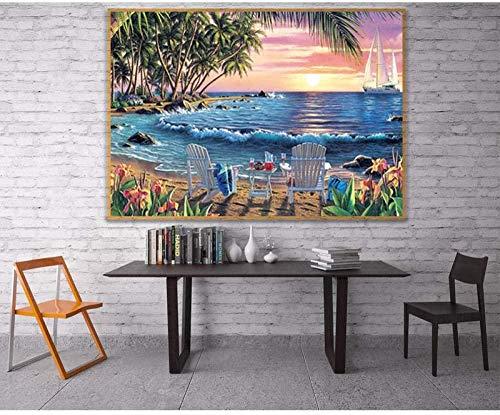 YYTTLL paisaje de diamantes taladro completo resina 5D Diy pintura de diamantes verano mar punto de cruz decoración de playa hogar 40X50Cm