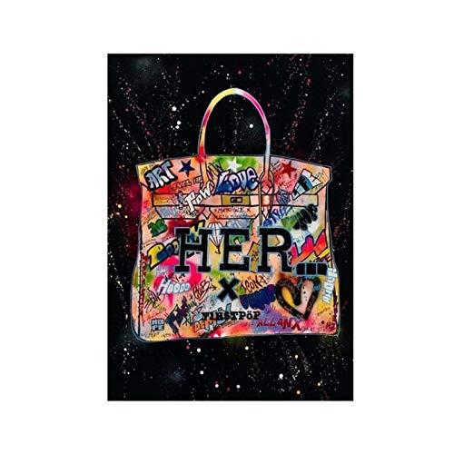 YXFAN Bolso de moda, póster de pintura de graffiti, cuadro de pared, obra de arte, lienzo para sala de estar, hogar, dormitorio, estudio, decoración-20x30 en sin marco