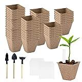 Ledeak 80 Piezas Macetas de Plantas Biodegradables, Macetas de Semillas Macetas de Siembra Macetas de Turba para Plantas Cultivo de Plantas Cuadradas para Plantas Semillas Plántulas Vegetales