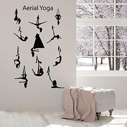 Tianpengyuanshuai Antena Yoga Centro Equilibrio Pose niña Hermoso Cuerpo Vinilo Adhesivo removible Mural 57X35cm