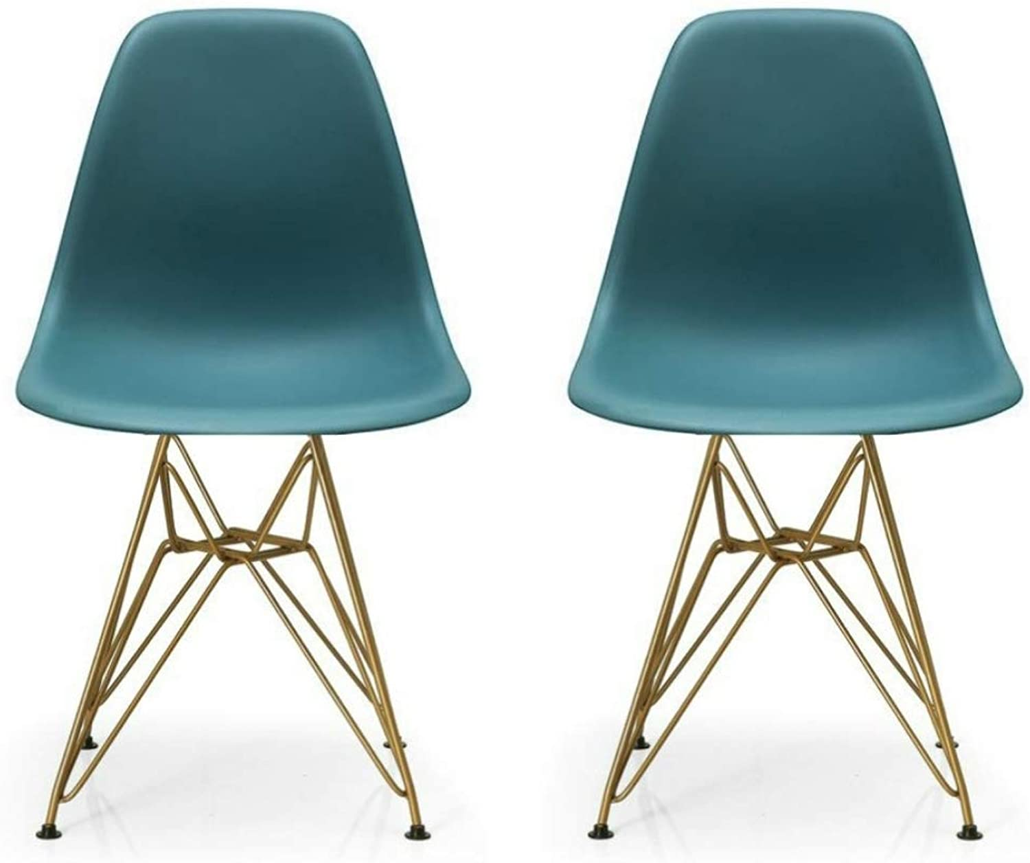 silver Import Eames Style Side Dining Chair with gold Legs Eiffel Dining Room Chair in Navy bluee Set of 2