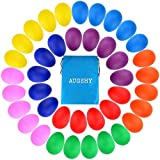 Augshy 40 Pieces Plastic Egg Shakers Percussion Musical Egg Maracas with a Storage Bag for Toys Music Learning DIY Painting(8 Different Colors)