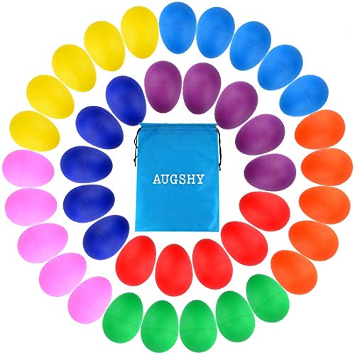 40 Pieces Plastic Egg Shakers Percussion Musical Egg Maracas with a Storage Bag for Toys Music Learning DIY Painting(8 Different Colors)