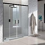 VAROBATH .Mampara de ducha con apertura frontal de puertas correderas, perfil NEGRO y cristal transparente con 6 mm de grosor. Disponible en varias medidas. Sin perfil inferior. (160 a 169)