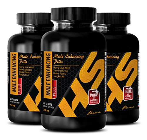 Muscle gain Weight Loss - Male Enhancing Pills 760 MG - Horny Goat Weed Best - 3 Bottles (180 Tablets)