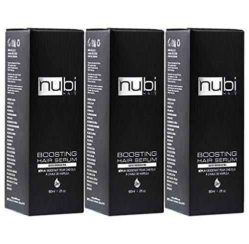 Nubi Boosting Hair Serum - Marula Oil Hair Serum with Vitamin E and Aloe Vera - Marula Hair Serum to Revive Dry, Dull Hair - 2 Fl. Oz. / 60 Ml. (3 Pack)