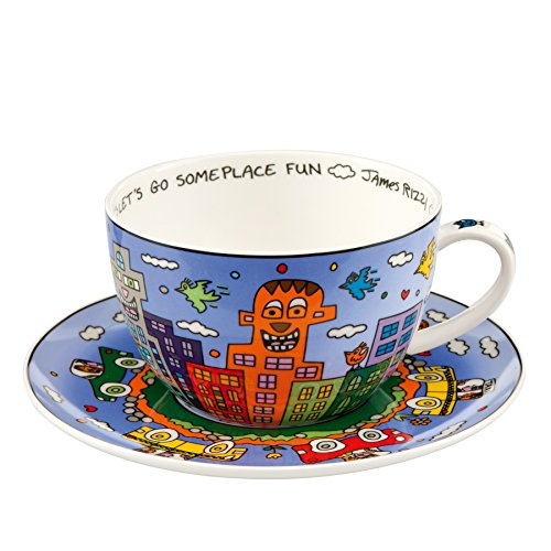 Goebel - Let's Go Out for Fun - Cappuccino Tasse - James Rizzi - Bone China Porzellan 0,5 l