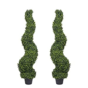 Binnny Flower Artificial Spiral Boxwood Topiary Trees Potted for Home Office Front Porch Indoor or Outdoor Decor Set of 2