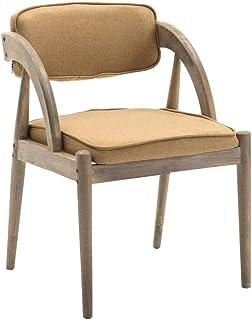 Sillas de comedor de cocina, sillas de comedor, madera maciza de lino y madera occidental, respaldo de hotel, cafetería, recepción, cocina, (color caqui, tamaño: B)