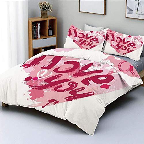 Juego de funda nórdica, pincel, mensaje de amor, mejores amigos para siempre, febrero, boda, imagen comprometida, decorativo, juego de cama de 3 piezas con 2 fundas de almohada, rubí rosa pálido, mejo