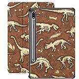 Funda para Galaxy Tab S7 Funda Delgada y Liviana con Soporte para Tableta Samsung Galaxy Tab S7 de 11 Pulgadas Sm-t870 Sm-t875 Sm-t878 2020 Release, Set Siluetas Dino Skeletons Dinosaurs Fossils