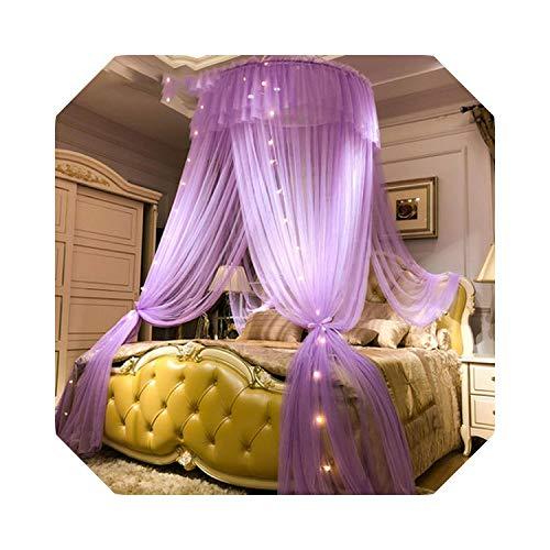 Eileen Ford Princess Style Hung Dome Mosquitera Cortina de Encaje Redonda para el hogar Textil Cama Canopy Cuna Tienda de Malla de poliéster Niñas-Púrpura con lámpara-1.2m (4 pies) Cama