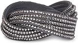 styleBREAKER weiches Strass Armband, eleganter Armschmuck mit Strassteinen, Wickelarmband, 6x1-Reihig, Damen 05040005, Farbe:Dunkelgrau/Hellgrau