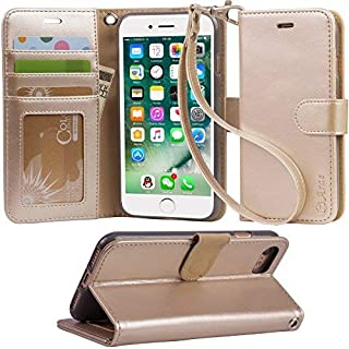 iphone 8 case, iPhone 7 case, Arae [Wrist Strap] Flip Folio [Kickstand Feature] PU leather wallet case with ID&Credit Card Pockets For iPhone 8 (2017) / iPhone 7 (2016) - champagne gold