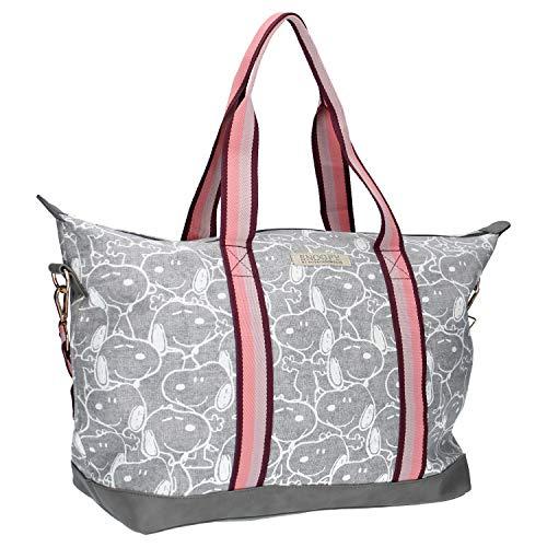 Disney Fashion Peanuts Shopper mit Snoopy - Einkaufstasche - Grau und Rosa
