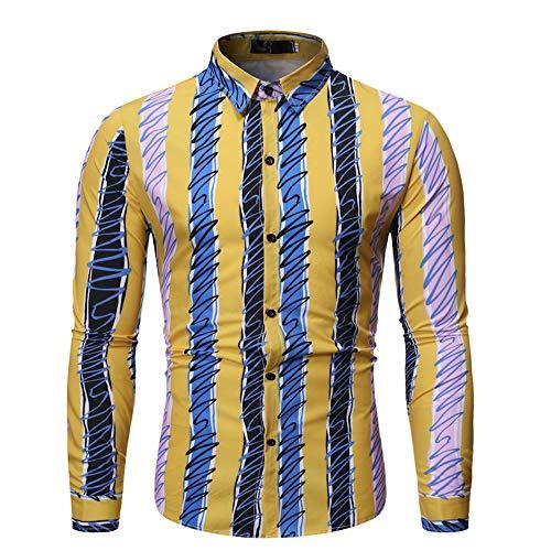 Camisa de manga larga de los hombres de la moda de los hombres de la solapa salvaje camisa de impresión a rayas