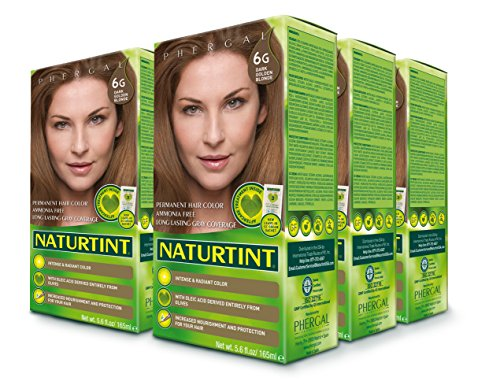 Naturtint Permanent Hair Color 6G Dark Golden Blonde (Pack of 6), Ammonia Free, Vegan, Cruelty Free, up to 100% Gray Coverage, Long Lasting Results