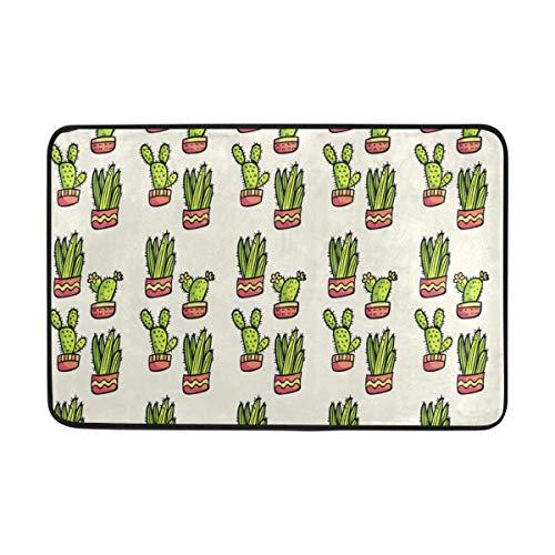 FAJRO Endearing Cactus - Alfombra de poliéster de 5 x 7 cm, diseño de zapatos de raspador de entrada, felpudo multipatrón para el suelo, antideslizante para interiores y exteriores