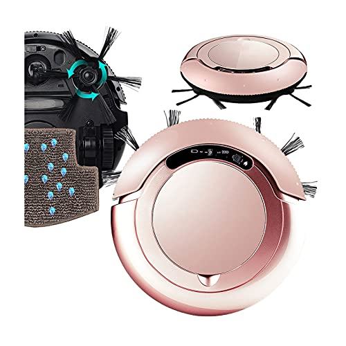 DSMGLRBGZ Robot Aspirapolvere Lavapavimenti, Anti Collisione Anti-Caduta Anti-Aggrovigliamento Autosterzante 15 Gradi di Arrampicata Spazzola Laterale Estesa,Rosa