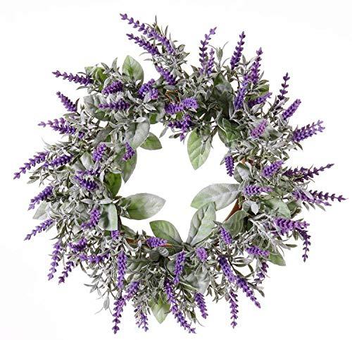 artplants.de Set 2 x Künstlicher Lavendelkranz LODOS, violett, Ø 30cm - Deko Tischkranz - Kunstblumen Wandkranz