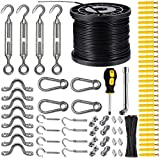 WJCGX String Lights Hanging Kit with 200 Ft Nylon Coated Stainless Steel 304 Wire Rope, String Lights Suspension Kit Included Enough Accessories, Use Manual, Humanized Collocation