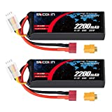 Socokin 3S 11.1V Lipo Battery 2200mAh 50C with Deans and XT60 Plug RC Batteries for E flite Valiant Parkzone E4F Wildcat Great Planes E-Cub RC Car Boat Truck Heli Airplane Quadcopter Helicopter(2Pack)