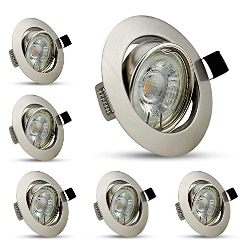 6 x 5 W GU10 LED-Einbaustrahler, schwenkbar, 40 °, 450 lm, 230 V, IP20, Deckenleuchte, Spot, Warmweiß, nicht dimmbar.