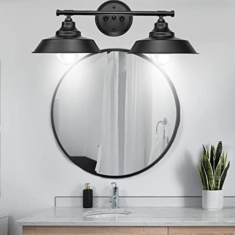 2 Lights Farmhouse Bathroom Light Fixtures Black Bathroom Vanity Light Over Mirror Vintage Mid Century Wall Sconces Rustic Style Wall Lighting For Bathroom Mirror Cabinet Amazon Com