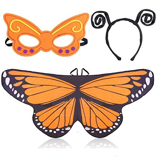 Beelittle Traje de alas de Mariposa Juego de Disfraces de 3 Piezas Conjunto de alas de Mariposa Mantón de Cabo con Diadema de Antena y máscara para niñas niños (Naranja)