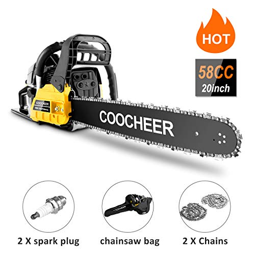 Tinfancy Gas Chainsaw, 62CC 20' Woodcutting Chain Saw, 2 Stroke Handed Petrol Chainsaws with Tool Kit