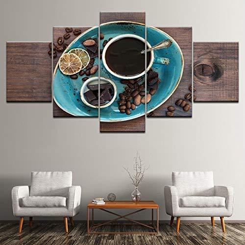 Wslin canvas schilderij koffie koffiebonen chocolade 5 stuks muurkunst schilderij modulaire behang poster print voor de woonkamer decoratieve afdrukken op canvas 150X80cm