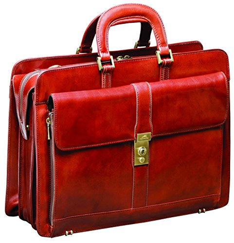 Mancini Luxurious Italian Leather Laptop Briefcase - Brown