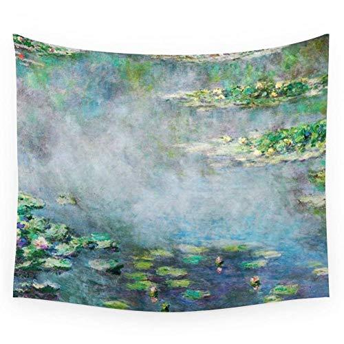 ZWBBO tapijt Water Lelie op doek Claude Monet Vintage Fine Art Wandtapijt voor bruiloft partij Strandhanddoek Yoga Picknick handdoek (150X200cm)