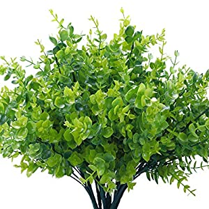 COCOBOO 8 Pack Artificial Greenery Plants Bouquets Stems Plastic Boxwood Shrubs Stems for Home Farmhouse Garden Office Wedding Indoor Outdoor Decor
