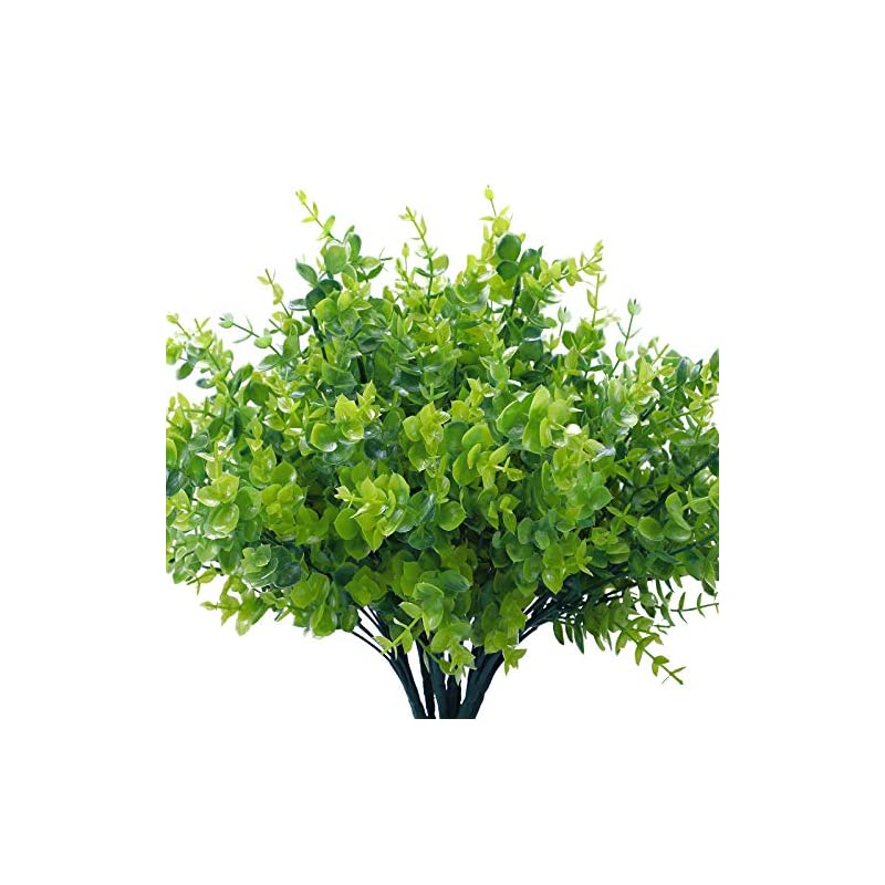 silk flower arrangements cocoboo 8 pack artificial greenery plants bouquets stems plastic boxwood shrubs stems for home farmhouse garden office wedding indoor outdoor decor