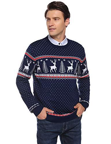 Abollria Herren Weihnachtspullover mit Rentier Schneeflocken Muster Rundhals Langarm Winterpulli Norweger Strickpullover für Winter,Navyblau,XL