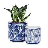 MICGEEK Plant Pots 2 Pack Flower Pot Ceramic Planters Indoor Pots for Plants Plant Container Ceramic Pots for Outdoor Plants Basket Small Garden Plant Pots - 5inch &4inch