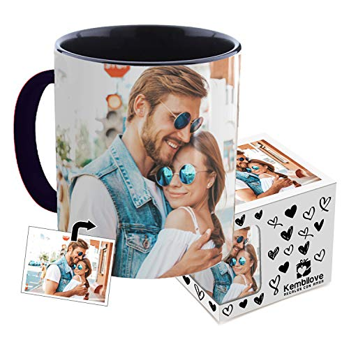 Kembilove Taza de Desayuno Personalizada con Foto - Regalo Original Personalizado con Foto - Tazas Personalizadas con el Interior en Color Negro - Regalo para Cumpleaños, Aniversarios, Eventos