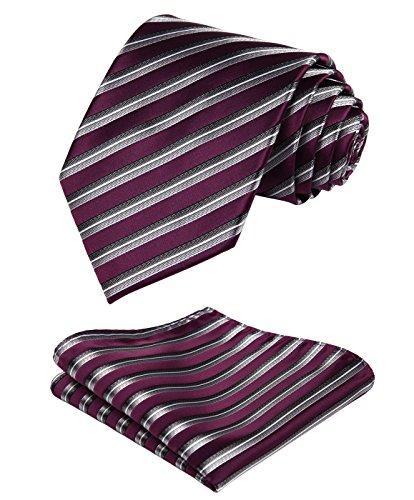 HISDERN Herren Streifen Krawatte Taschentuch gewebte Jacquard Krawatte Tasche quadratisches Set für formelle Geschäft Hochzeit (lila/grau)
