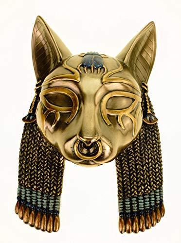 Veronese Maske ägyptische Göttin Bastet 20 cm Wanddekoration Ägypten Pharao Figur bronziert
