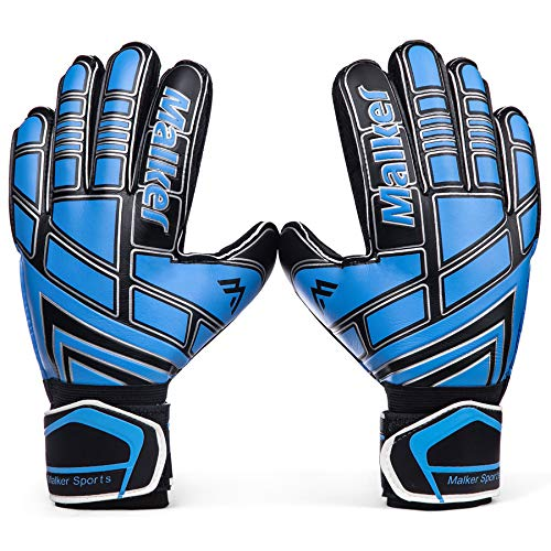 Malker Soccer Goalie Gloves Goalkeeper Gloves with Fingersave and Double Wrist Protection, Strong Grip Goalkeeper Gloves for Youth&Adult Size 7 (Black)