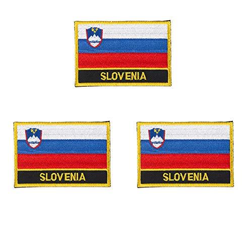 3 x bestickte Slowenien-Flagge zum Aufbügeln oder Aufnähen.