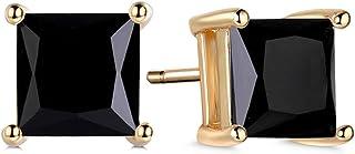 GULICX Silver Tone 7mm Square CZ Party Pierced Earrings Studs Purple Unisex