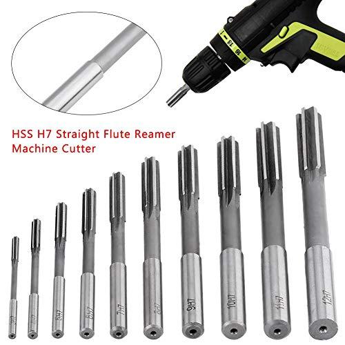 3,4,5,6,7,8,9,10,11,12 mm langlebiges HSS Reibewerkzeug-Set, gerader Schaft, Fräsfräser-Werkzeug-Set, H7 Bohrmaschinen-Reibahle, Handreibahle, 10-teilig