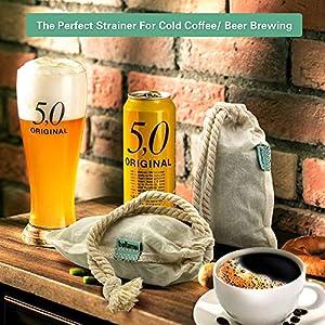 Bellamei Nut Milk Bag Reusable 4 Pack Organic Cotton Food Strainer Colander Nut Bags for Almond Milk,Juice,Cold Brew… |