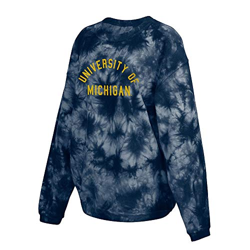 Elite Fan Shop Michigan Wolverines Women's Tie-Dye Corded Crewneck Sweatshirt - Medium - Navy