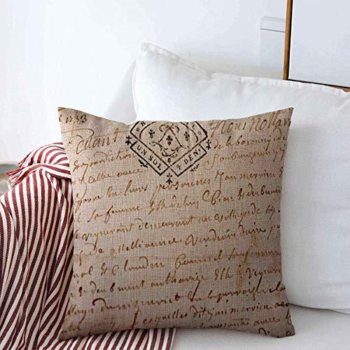 Throw Pillow Covers Notar Text Alte Französisch Manuskript Stempel aus Vintage Handschrift Skript Brief Alten Design Kissenbezug