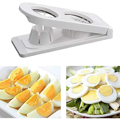 KOBWA Tagliauova in acciaio inox, per affettare le uova sode, affettatrice multiuso, 2 in 1 per mele & chopper bianco Egg Slicer
