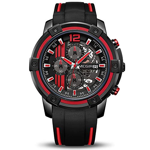 MEGIR Men's Analogue Sport Quartz Wrist Watches with Soft Red/Black Silicone Strap Chronograph Luminous Auto Calendar Waterproof Function (2097 Red)