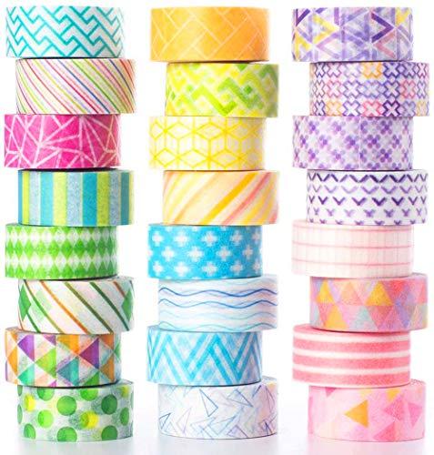 YUBX 24 rollos Flaco Washi Tape Set Masking Tape cinta adhesiva decorativa Washi Glitter Adhesivo para DIY Crafts Scrapbooking 10MM De ancho (Mini)